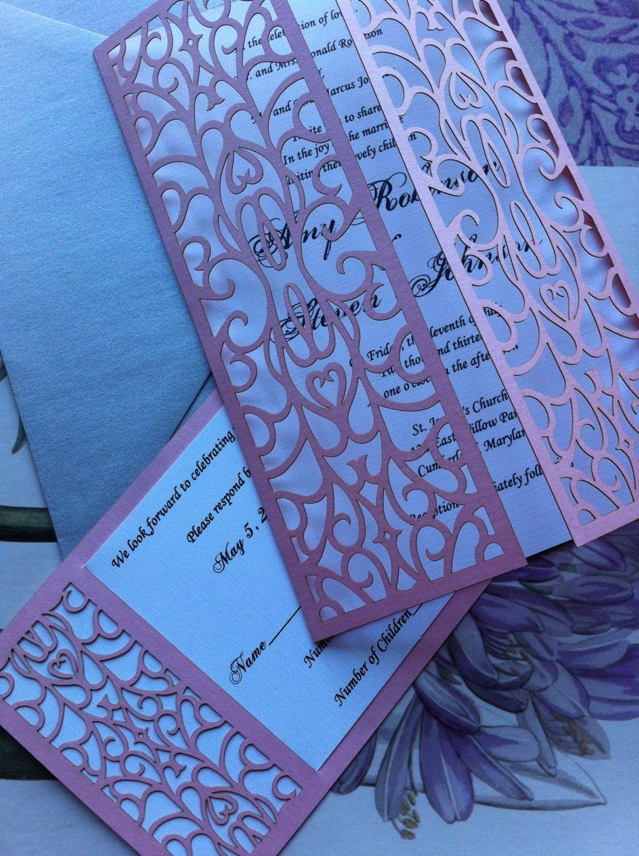 Laser Cut Wedding Invitation Swirl Bi Folding by CelineDesigns