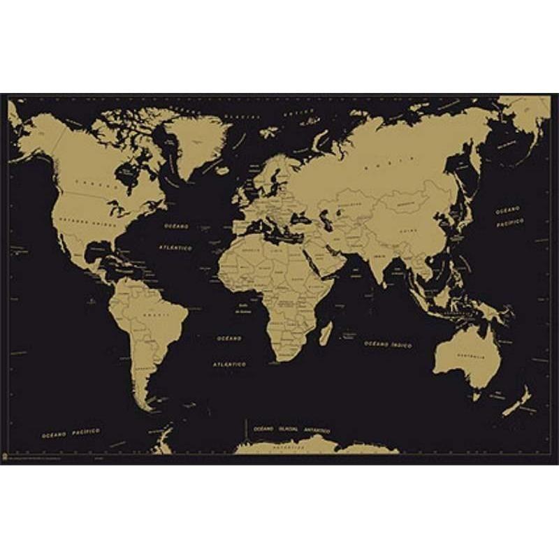 Poster Mapa Mundo Metalizado