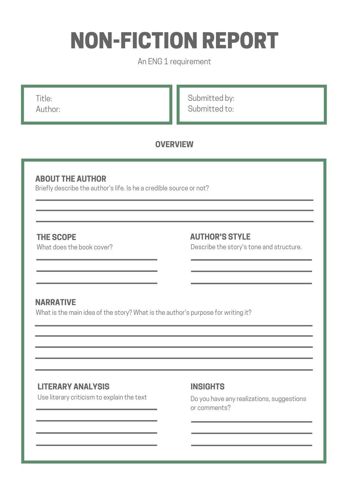 White Green Simple Non Fiction Book Report