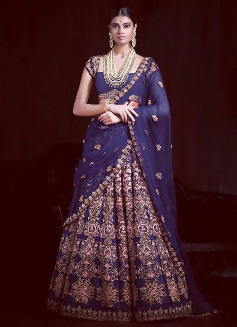 DIY Navy Blue A Line Lehenga Choli   saree blouse designs   Pinterest