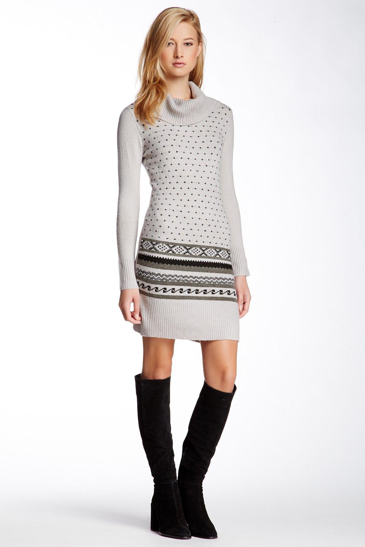 Vertigo | Long Sleeve Cowl Neck Sweater Dress | Cowl neck