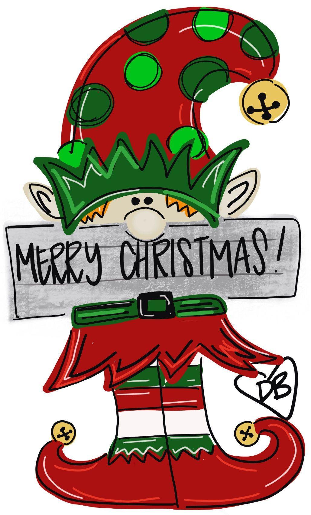 Photo of Items similar to Christmas Door Hanger – Elf Door Decoration –  Winter Door Decor, Christmas Wreath – Merry Christmas Elf wood hanger on Etsy