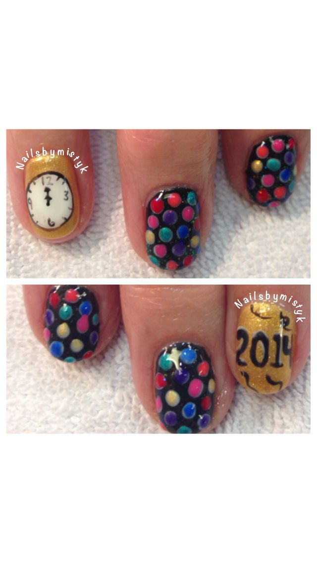 Shellac nail art. New Year's Eve nail design. Holiday nail ...