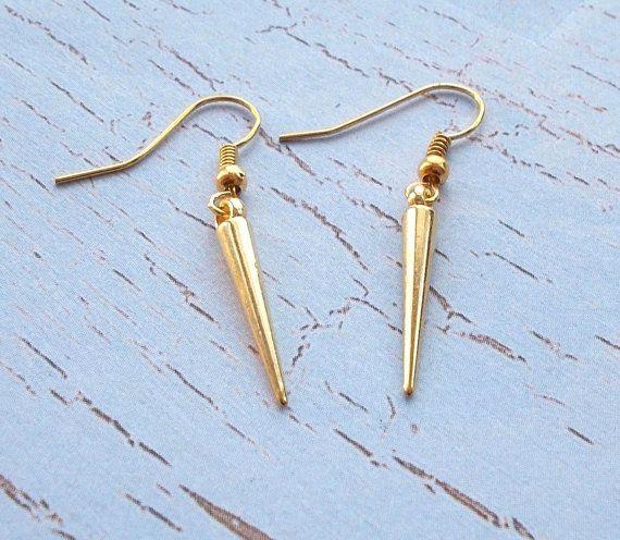 Simple Gold Dangle Spike Drop Earrings Di Madebydhara Su Etsy 4 00