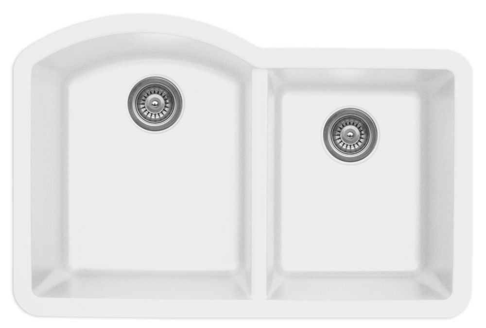 Karran Quartz 32 Inch Large Small Bowl In White Double Basin