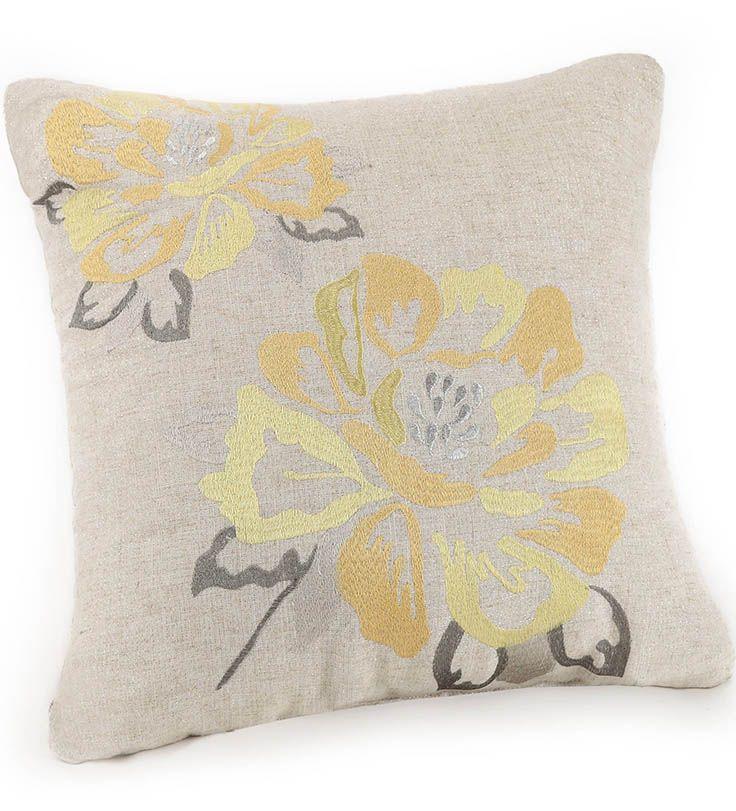 Home Floral Throw Pillows Yellow Blossom Garden Pillows