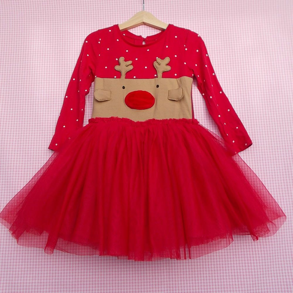 c1d78de9f Girls Next Red Rudolf Reindeer Dress age 2-3 years Christmas Party ...