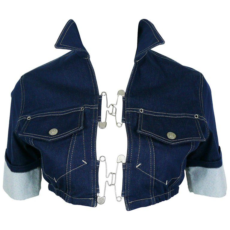 Jean paul gaultier vintage denim and safety pin crop top