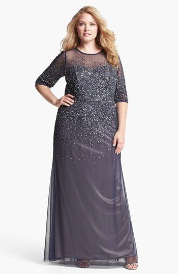 Adrianna Papell Beaded Illusion Gown (Plus Size) available at ...