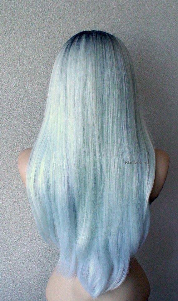 Mint Silver Wig Long Straight Hair Light Mint Silver By Kekeshop