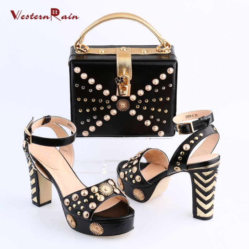 e856b725f227 Women Shoes High Heel Sapato Feminino Italian Shoe With Matching Bag With  Alloy Lady Sandal And To Match Set Hot Sale Sets
