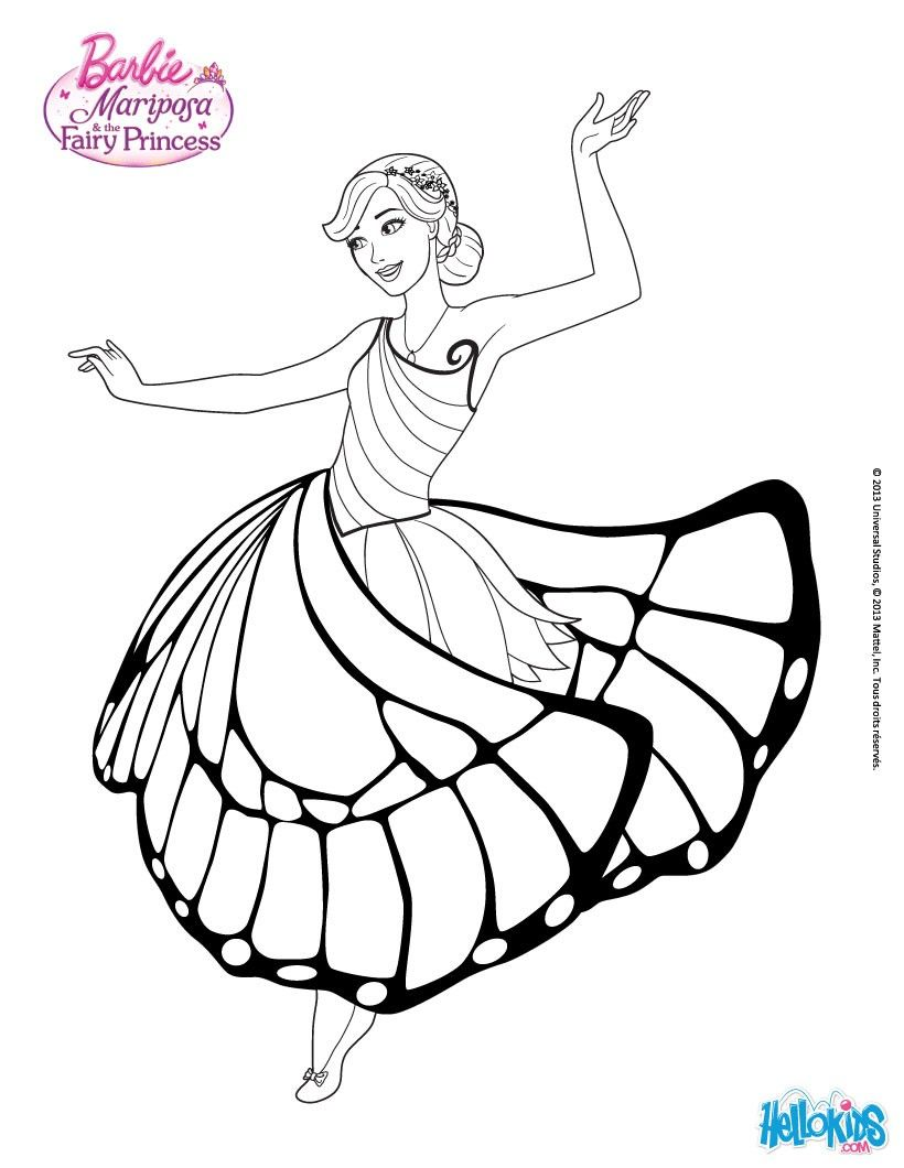 Mariposa In A Nice Dress Coloring Page More Barbie Sheets On Hellokids