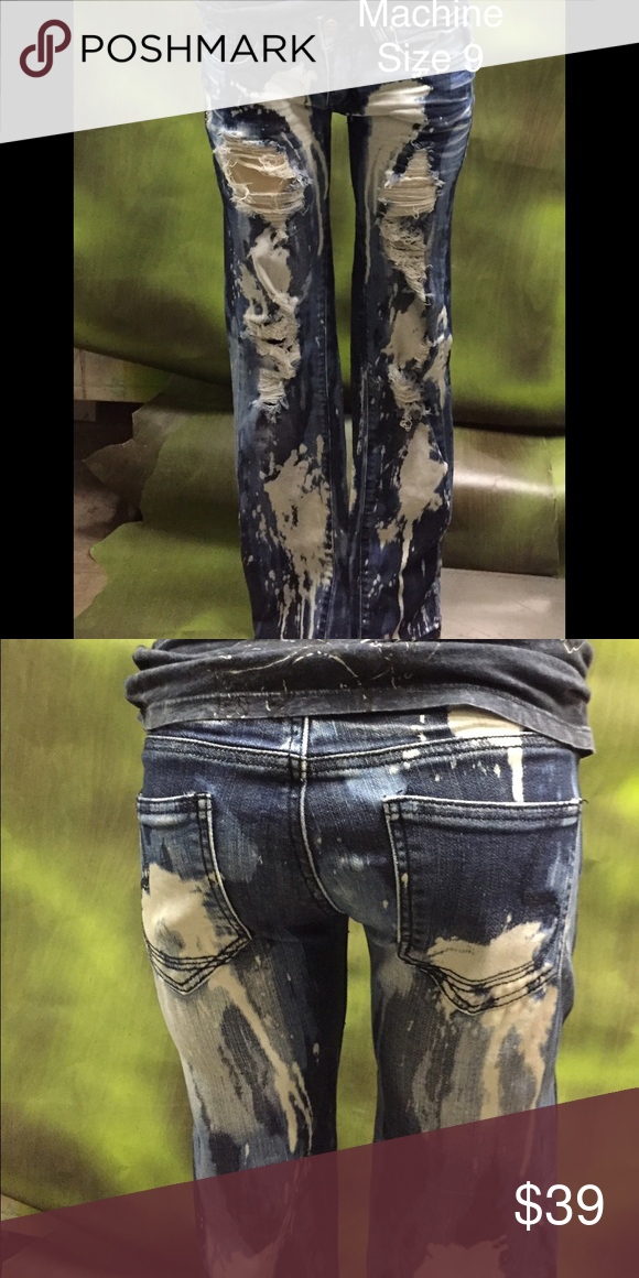 Machine tie-dye holey distressed jeans size 9 These jeans are awesome! They are skinny size 9 blue and white machine jeans! They are in great condition but of corse distressed with several holes!! machine Jeans Skinny
