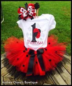Lady Bug First Birthday Outfit with by audreyoonasbowtique on Etsy