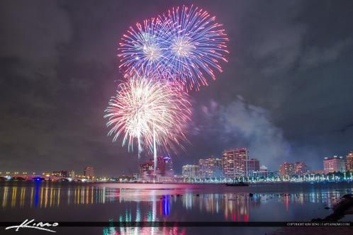 West Palm Beach Fireworks New Years from Waterway