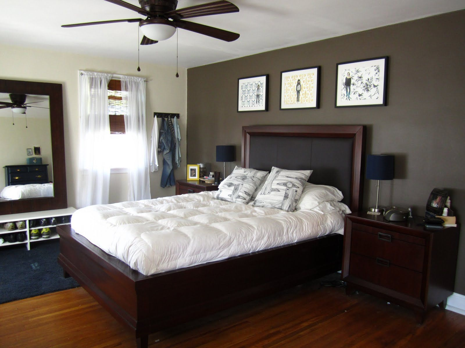 Bedroom paint ideas accent wall paper - Bedroom Fancy White Tufted Bed With Dark Espresso Queen Size Platform Bed And Brown Paint Wall Also Terrific Ceiling Lamp Fan Attractive Bedroom Accent
