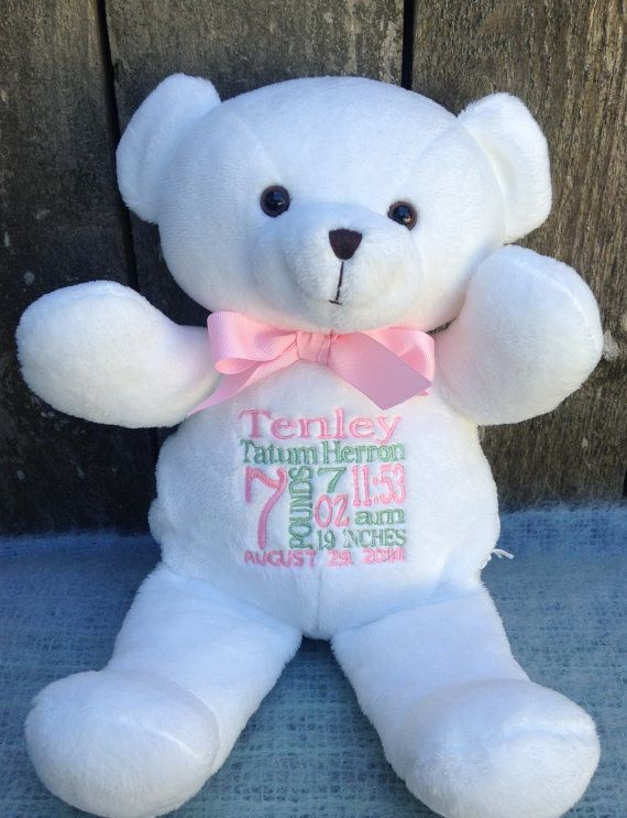 Hello thank you for visiting our etsy shop this adorable white personalized baby gift white teddy bear by worldclassembroidery baby gift monogrammed white teddy bear baby boy baby girl new baby birth announcement negle Gallery