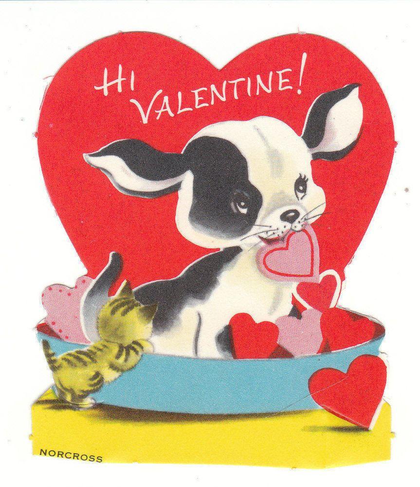 Vintage Valentine Card Boston Terrier Puppy In Dog Bed Unused Norcross Vintage Valentine Cards Vintage Valentines Dog Valentines