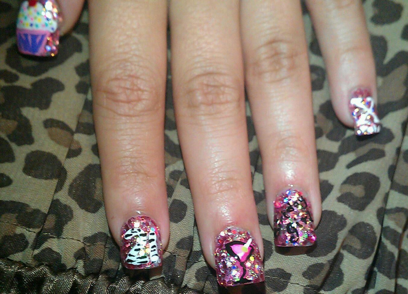 21st birthday nails. little