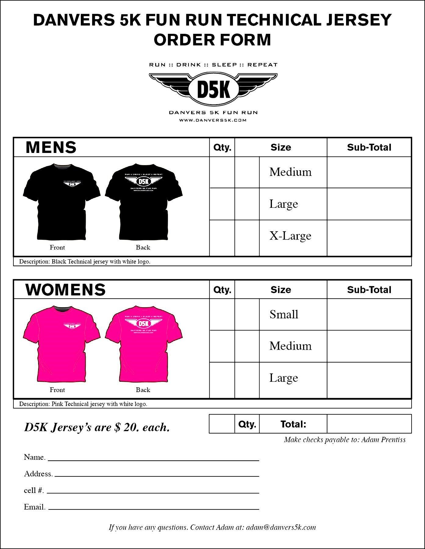 T Shirt Order Form Besttemplates123