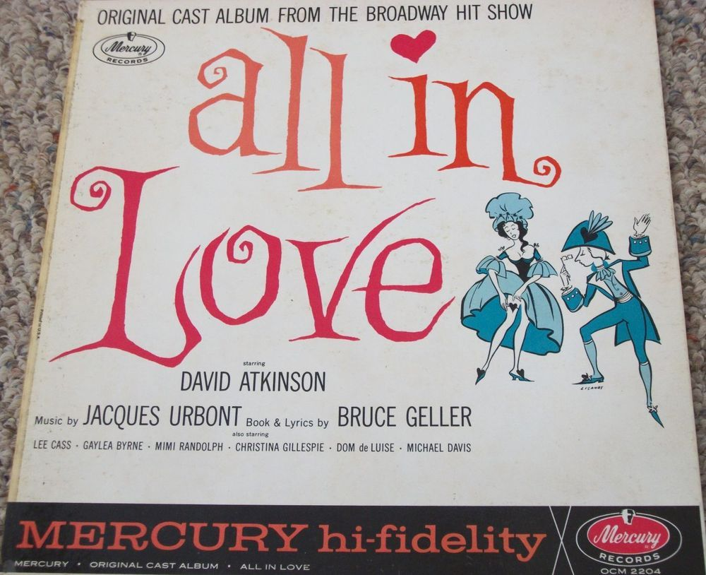 "All In Love / Original Broadway Cast / 12"" Vinyl LP Record / David Atkinson / Jacques Urbont / Mercury Album OCM 2204"