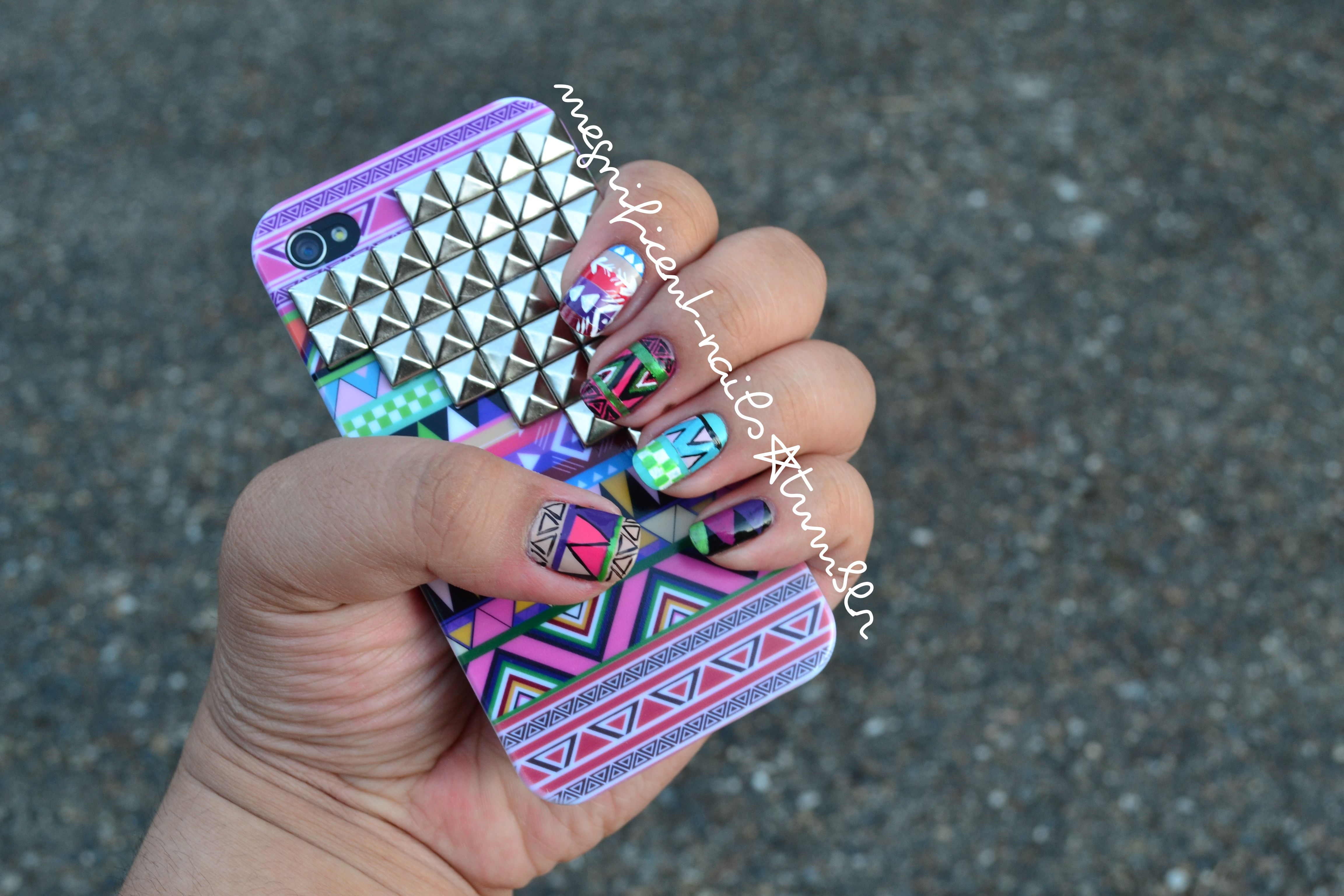 Inspired by my new iPhone case! Check out MARGAUXBONNIE.COM for beautiful hand-studded cases like this and so much more! #nails #nailart #Tribal #Aztec