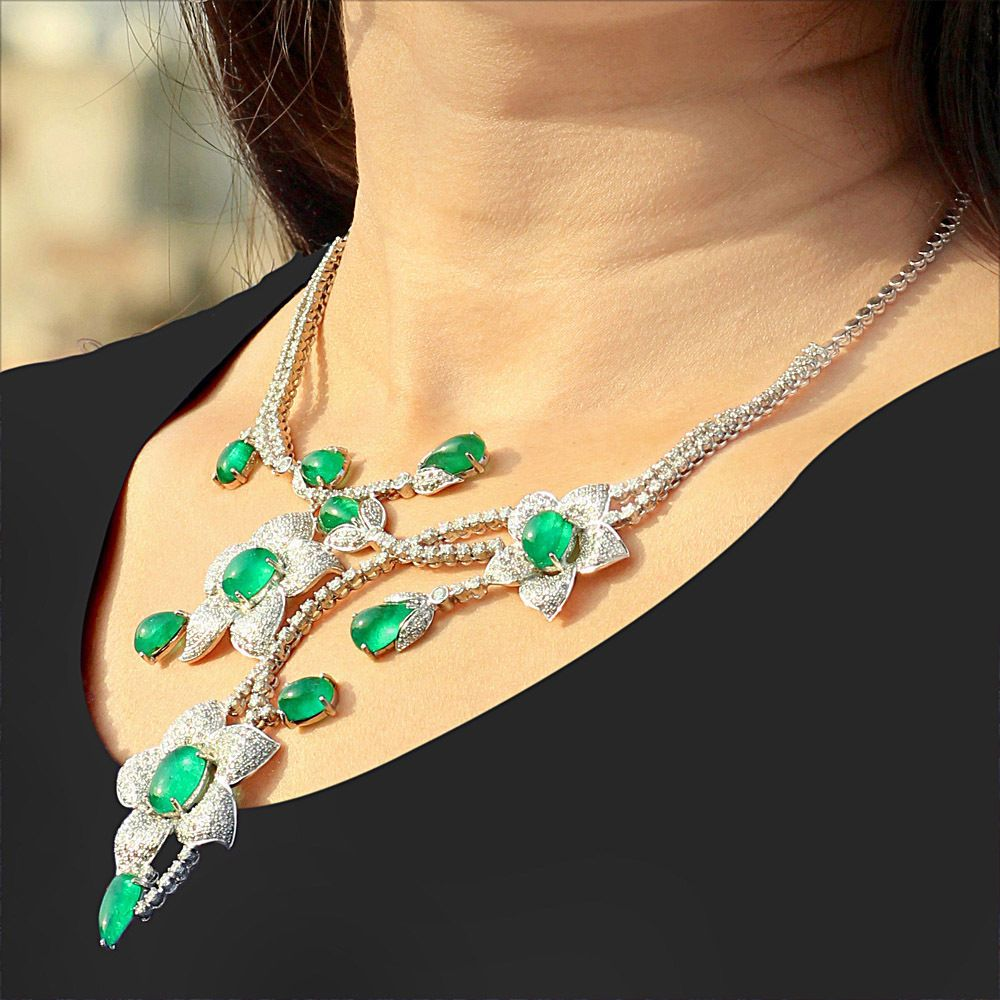 18k White Gold Emerald Gemstone Flower Pendant Necklace Diamond Earrings Jewelry #Handmade #DropDangle