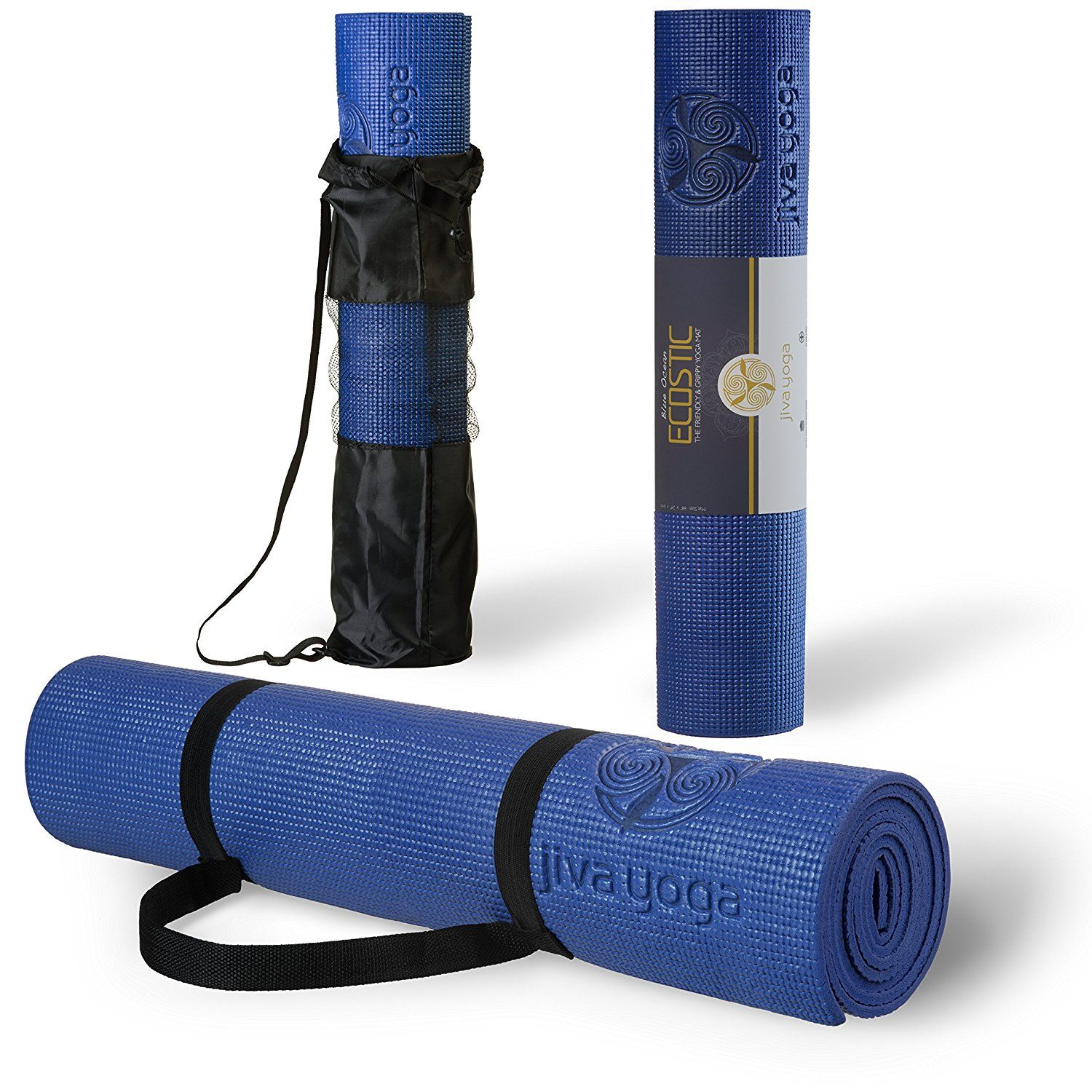 Jiva NonSlip Yoga Mats With Free Carrying Strap and Bag