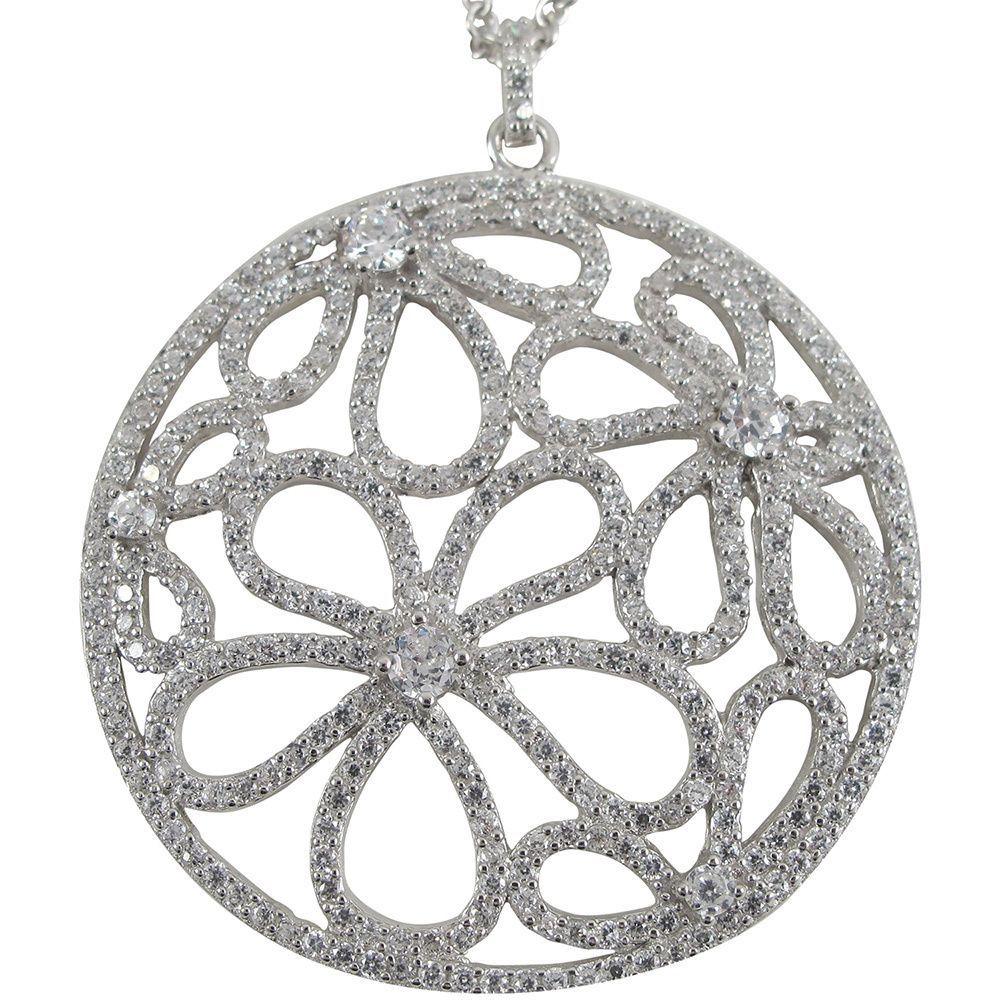 Luxiro Luxiro Sterling Silver Gold Finish CZ Flowers Filigree Circle Pendant (