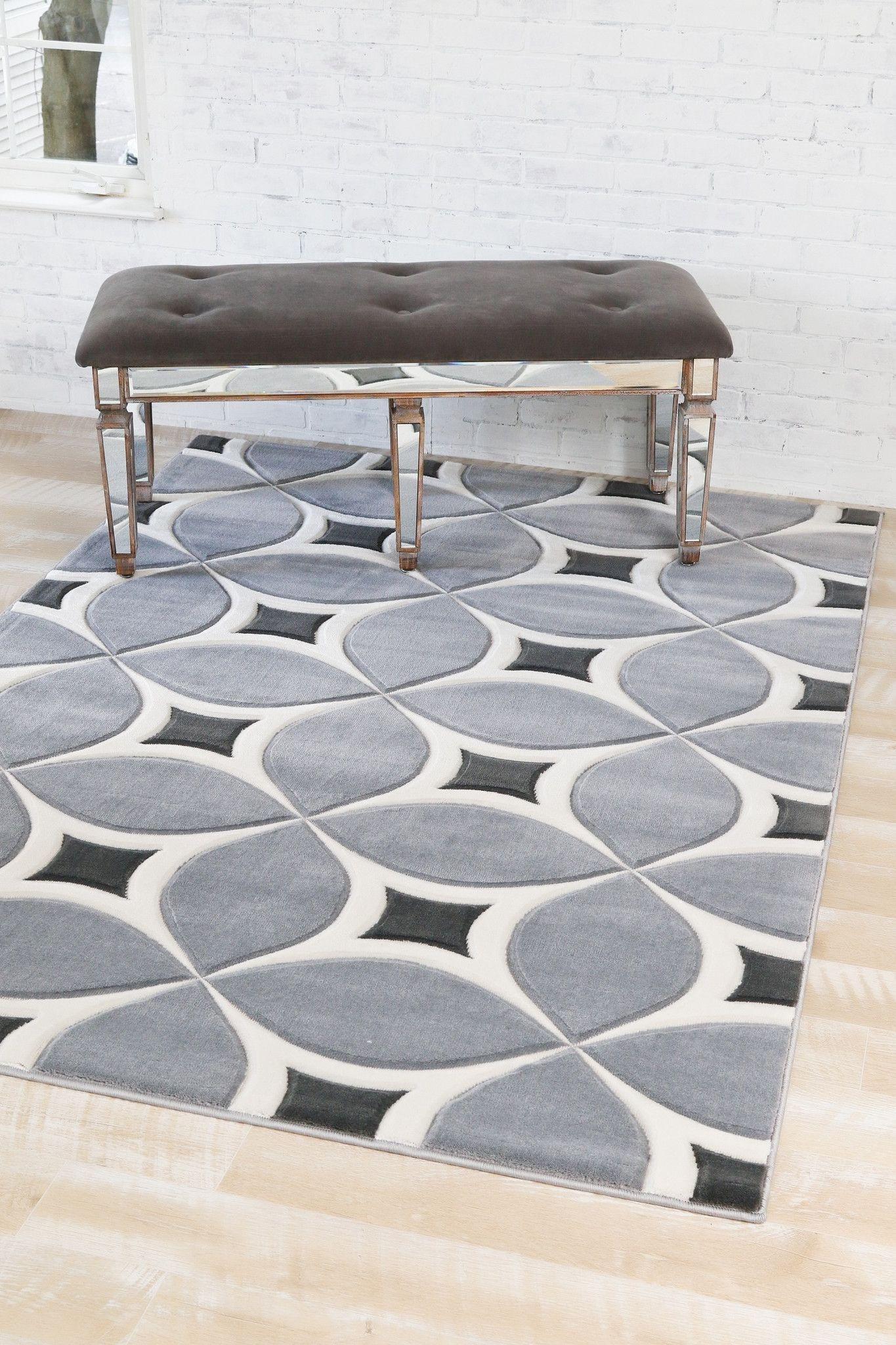 3440 Gray Contemporary Area Rugs