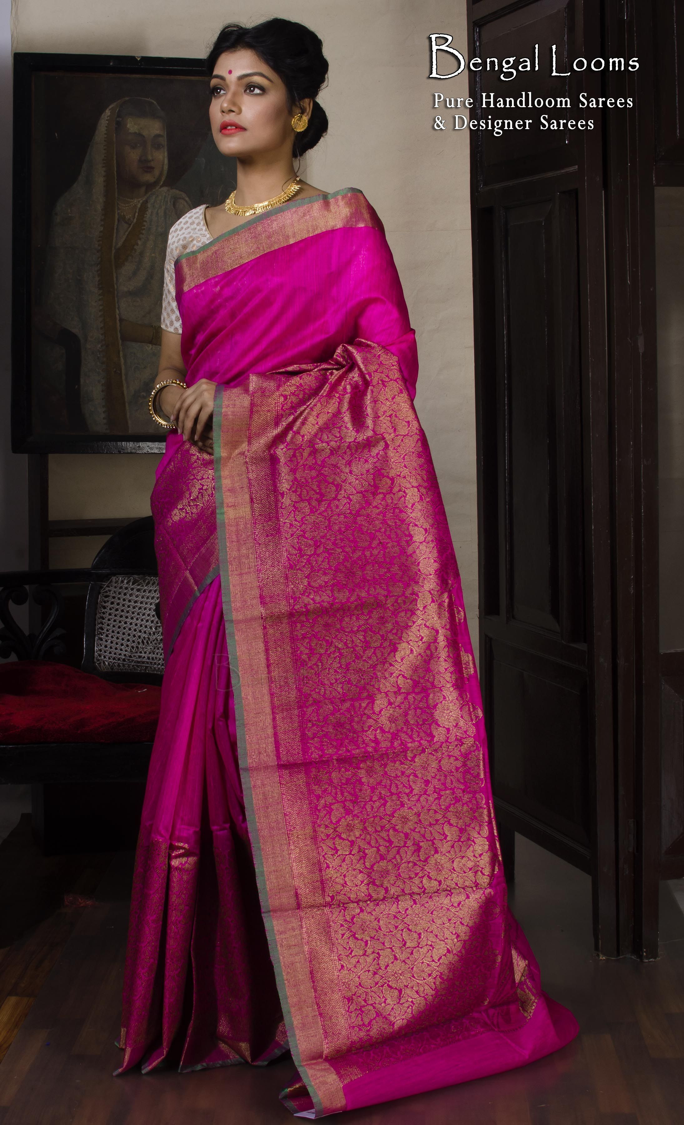 9df14c5d5343f Tassar Silk Banarasi Saree in Hot Pink and Gold