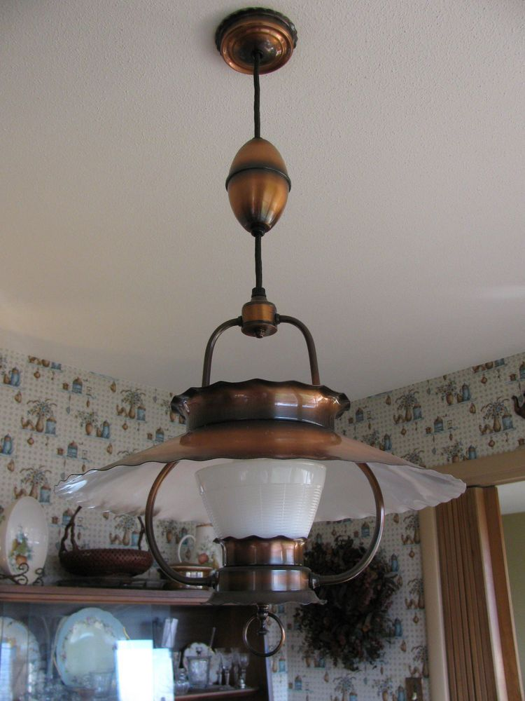 Mid Century Copper Hanging Ceiling Lamp Light Fixture