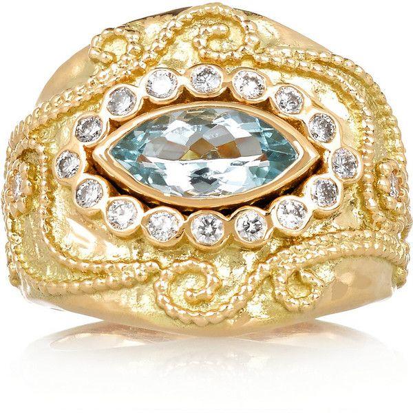 Aurélie Bidermann Fine Jewelry Cashmere 18-karat gold, diamond and... (37,395 MYR) via Polyvore featuring jewelry, rings, 18k ring, diamond jewellery, aquamarine ring, 18k diamond ring and hand crafted jewelry