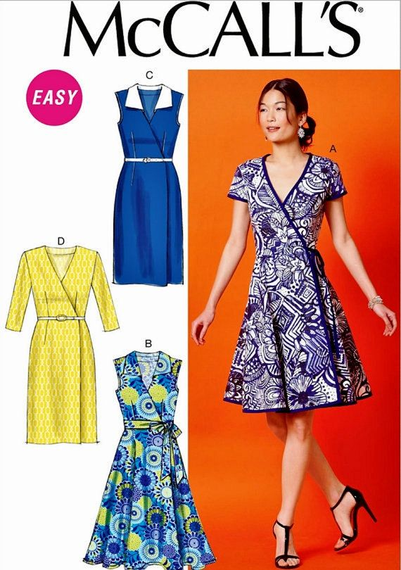 Sewing Pattern Wrap Dress Pattern, Straight Wrap Dress Pattern, Full ...