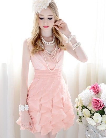 Hot Sale Frills V-neck Sleeveless Pure Color Dress