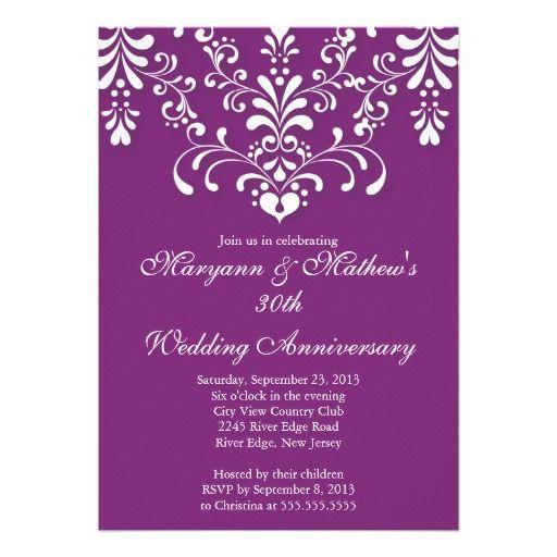 Damask Purple Wedding Anniversary Invitation Zazzle Com Anniversary Invitations Anniversary Party Invitations Wedding Anniversary Invitations
