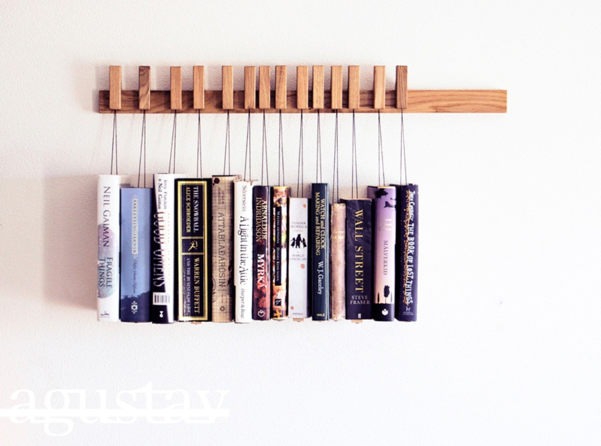 Unique Bookshelves this unique bookcase you can hang your books and display them as