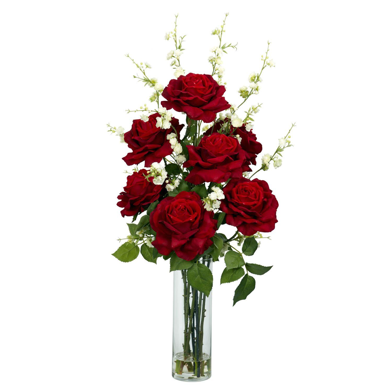 Roses With Cherry Blossom Floral Arrangements And Centerpieces In Vase Arreglos Florales Falsos Arreglos De Flores Rojas Arreglos Con Rosas Rojas