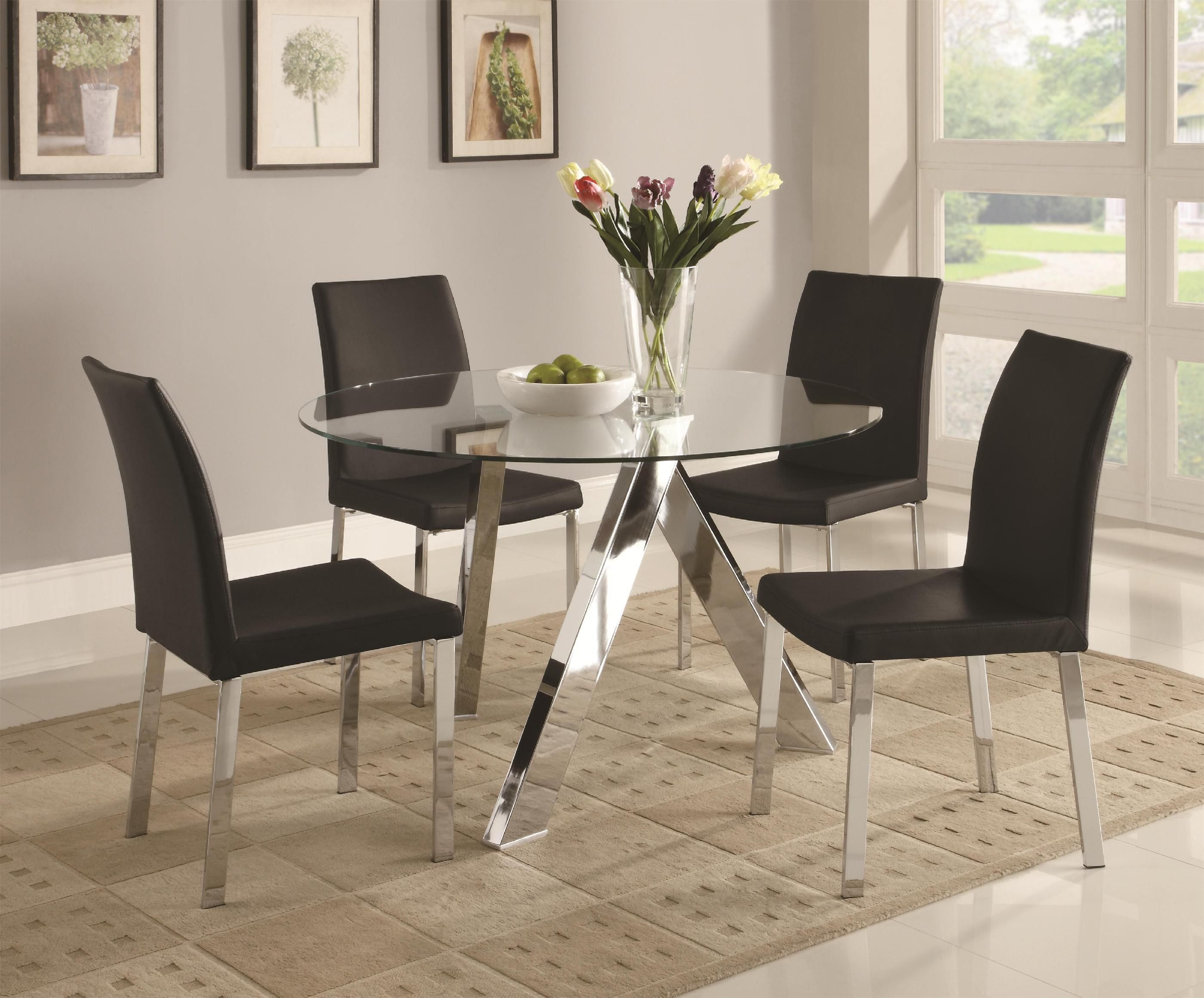 Dining Room Superb Dining Room Furniture Sets With Round Glass Alluring Glass Dining Room Set Decorating Design