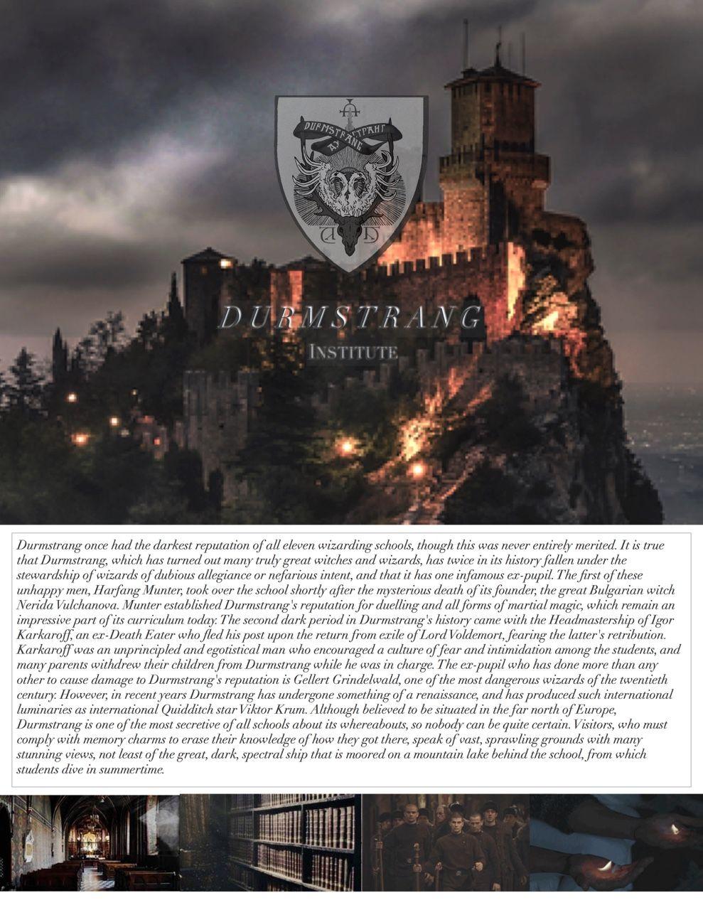 Harry Potter Aesthetics Wizarding Schools Durmstrang Institute Hogwarts Harry Potter Series Harry Potter Jk Rowling Durmstrang institute est fait pour vous, son école guerrière et stricte vous formera à vous confronter aux meutes de lycans qui sévissent dans des régions aux températures sibériennes. harry potter jk rowling