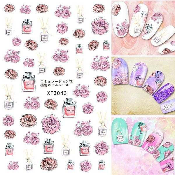 water color flower roses perfume 3d nail art sticker nail tips decal