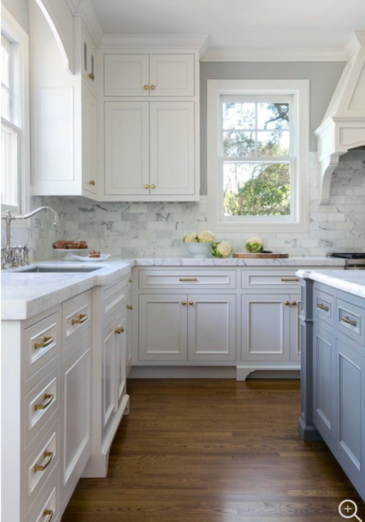 Furniture like select cabinets brass hardware grey island