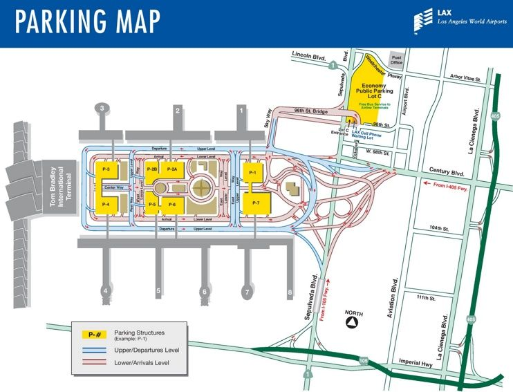 Los Angeles Airport Parking Map Los Angeles Airport Airport Parking Domestic Airlines