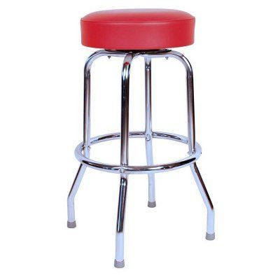 Richardson Seating Floridian 30 in. Swivel Bar Stool with Chrome Base Red - 0-1950RED