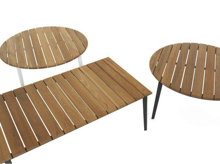 Table de jardin en acier inoxydable et bois RAILWAY by DE PADOVA ...