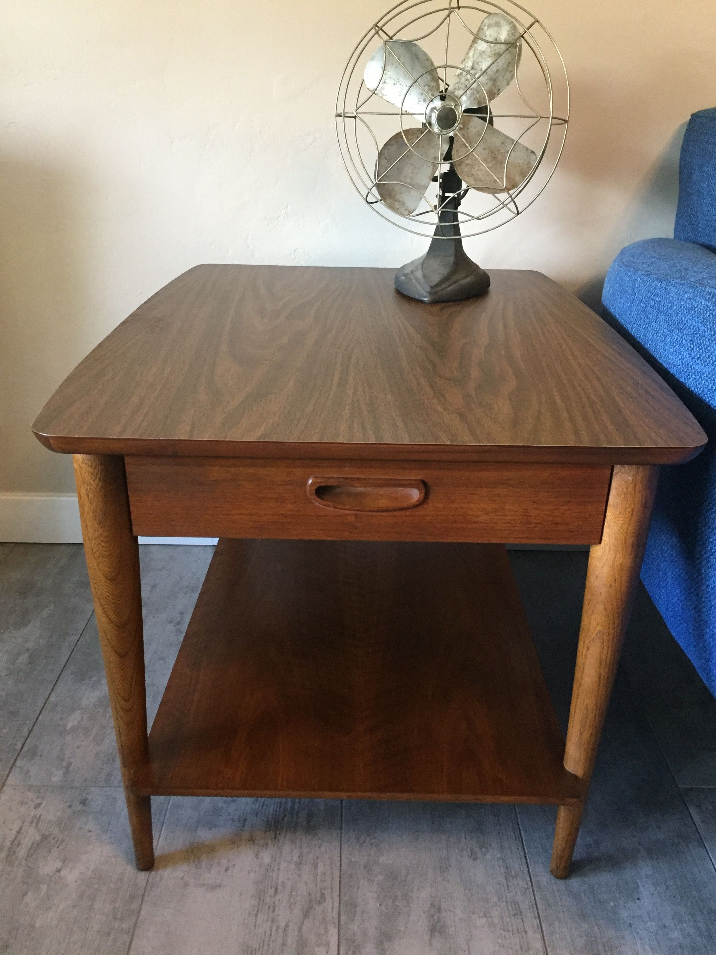 Lane Mid Century Side Table With Drawer And Shelf