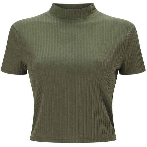 Miss Selfridge PETITE Khaki Rib T-Shirt (44 BRL) ❤ liked on Polyvore featuring tops, t-shirts, shirts, crop tops, khaki, petite, short sleeve t shirt, polyester shirt, jersey t shirt and crop t shirt