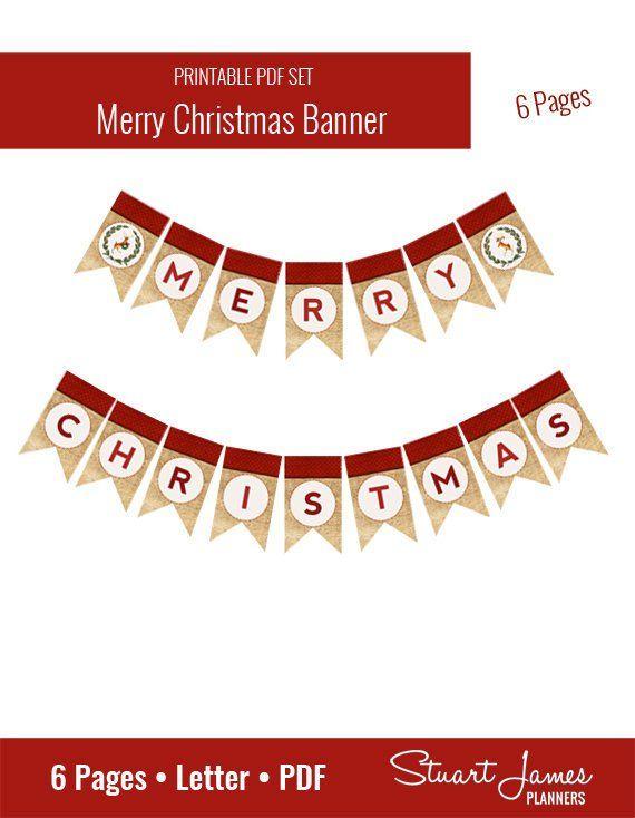 Merry Christmas Banner Printable Christmas Banner Printable