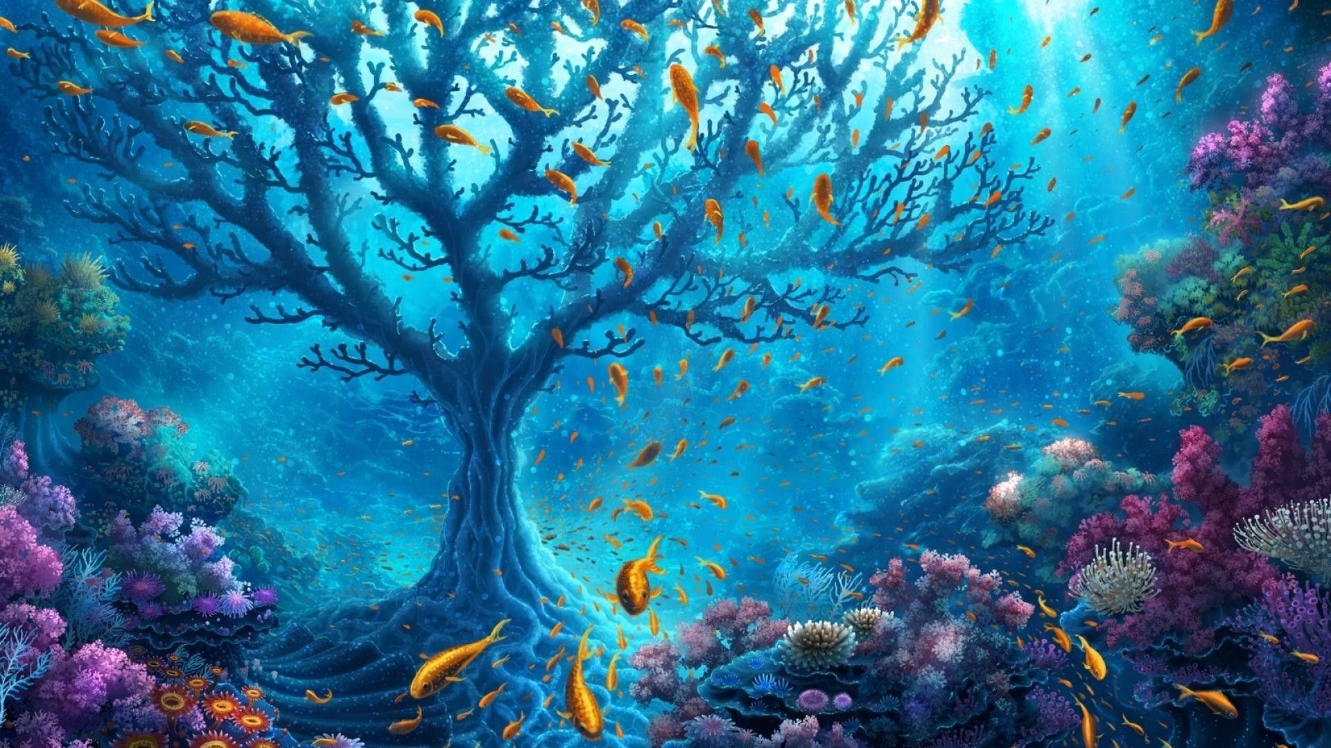 Underwater Desktop Wallpapers In 2020 Underwater Wallpaper Underwater Painting Fantasy Art Landscapes