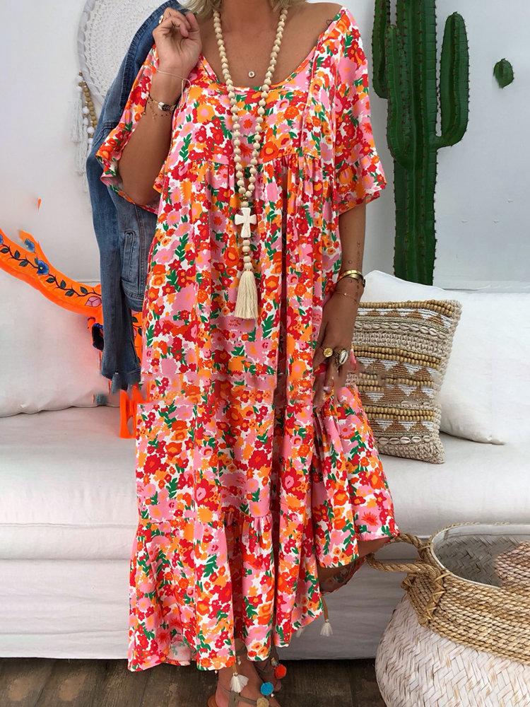 8635162586f Hot saleBohemian Floral Print Irregular Maxi Dress For Women Cheap - NewChic  Orange Flowers, Orange